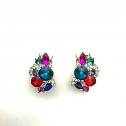 MAGNIFICENT OVAL STRASS MULTICOLORED CLIPS EARRINGS WITH GOLD JEWELERY