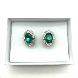 MAGNIFICENT EARRINGS CLIPS OVAL STRASS EMERALD WAY JEWELERY RHODIE