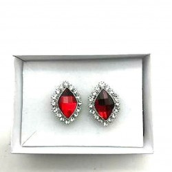 MAGNIFICENT OVAL STRASS RUBY CLIPS EARRINGS RHODIE JEWELERY