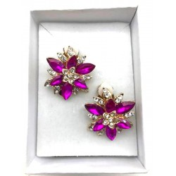 MAGNIFICENT EARRINGS CLIPS STRASS FUCHSIA JEWELERY WAY