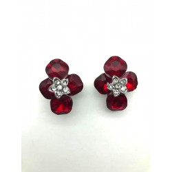 MAGNIFICENT OVAL STRASS RUBY CLIPS EARRINGS RODHIE JEWELERY