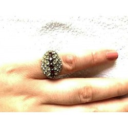 OLD STRASS RING OVAL SHAPED CRYSTAL AND RUBY ADJUSTABLE RING