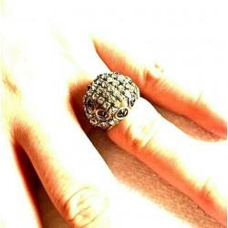 OLD STRASS DOME SHAPED CABOCHON CRYSTAL AND SAHIR RING ADJUSTABLE RING