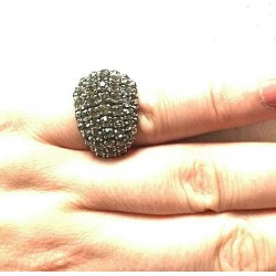 RING ANCIENT STRASS CABOCHON SHAPED GRAY CRYSTAL ADJUSTABLE
