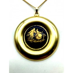 LIMOGES MEDALLION ROUND NECKLACE IN PORCELAIN DECOR FRAGONARD SCENE GALANTE