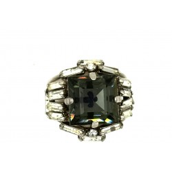 OLD RHINESTONES SQUARE GRAY RING CRYSTAL STRASS BAGUETTE ADJUSTABLE RING