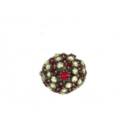 ROUND CABOCHON-SHAPED STRASS RING RUBY CRYSTAL STRASS ADJUSTABLE RING