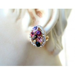 MAGNIFICENT MULTICOLORED STRASS CLIPS EARRINGS WITH GOLD JEWELERY