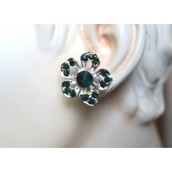 MAGNIFICENT JEWELRY EMERALD STRASS CLIPS EARRINGS