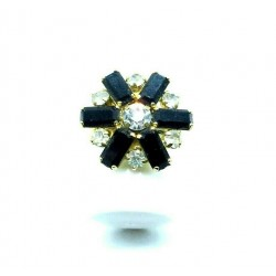OLD ADJUSTABLE GOLD RING SHAPED MARGUERITE BLACK AND CRYSTAL STRASS