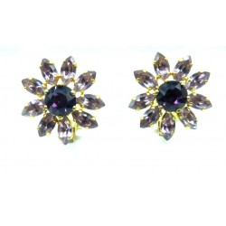 MAGNIFICENT EARRINGS CLIPS STRASS AMETHYST JEWELERY WAY