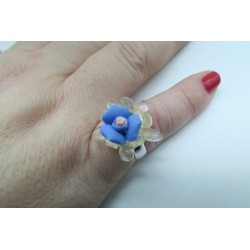 PINK CRYSTAL AND PORCELAIN RING CRYSTAL AND BLUE