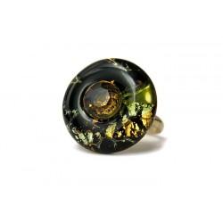 Bague donut émeraude et topaze en cristal de France et feuille d'argent - Bagues rondes - Bijoux