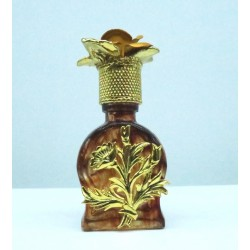PERFUME MINIATURE SHAPED AMBER DIAL BOUQUET DECORATED STOPPER GIFT IDEA