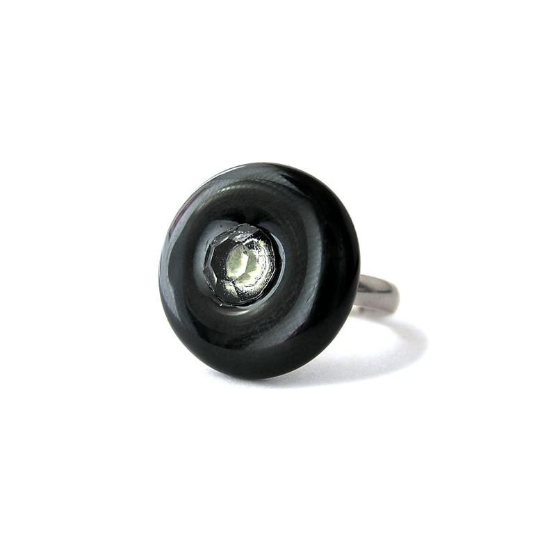 Bague donut noire et cristal en cristal de France et feuille d'argent - Bagues rondes - Bijoux