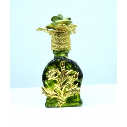 MINIATURE PERFUME SHAPED GREEN DIAL BOUQUET DECORATED STOPPER GIFT IDEA