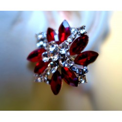 MAGNIFICENT STRASS RUBY CLIPS EARRINGS SILVER JEWELERY