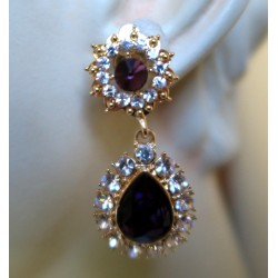 MAGNIFICENT EARRINGS PENDANT CLIPS STRASS AMETHYST GOLD FINISH