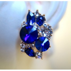 MAGNIFICENT EARRINGS CLIPS STRASS SAPPHIRE FASHION GOLD JEWELERY