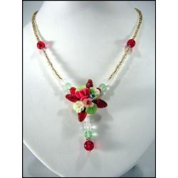 Seed beads necklace with crystal flower