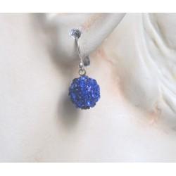 BLUE STRASS DISCO EARRINGS PIERCED EARRINGS