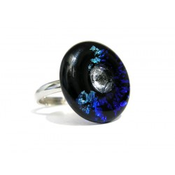 Sapphire and cristal in crystal France donut ring with silver leaf - Round Rings - Jewelry