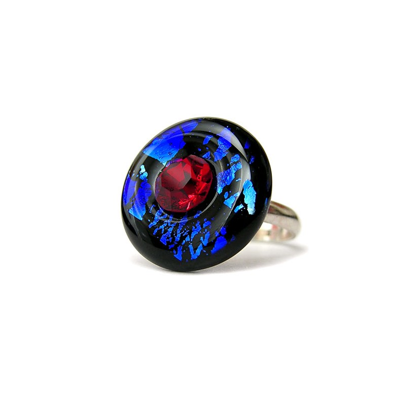 Sapphire and ruby in crystal France donut ring with silver leaf - Round Rings - Jewelry