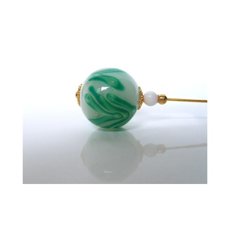 Fibula, hat pin, lapel pin, train brooch ... Murano crystal pearl and aventurine