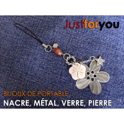 Just For You nacre cell phone charm
